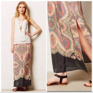 Anthro Vanessa Virginia Palme Silk Maxi Skirt